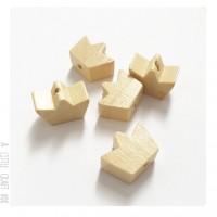 5 perles en bois couronne