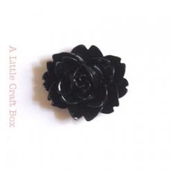 """2 cabochons  """"rose épanouie"""" - noir"""