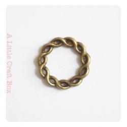 1 anneau tressé fermé 20mm -  bronze