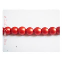 5  perles de verre mat 10mm - rouge orangé