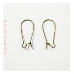 """10  supports boucles d'oreilles """" dormeuse """" 24x11mm  - bronze"""