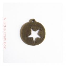 "2 breloques ""rond étoilé"" - bronze"