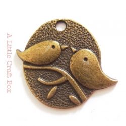 "1 breloque ""oiseaux ovale"" - bronze"