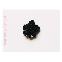 """2 cabochons """"3 fleurs"""" - noir"""