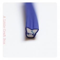 """1 cane """"chat kawaii bleu"""" en pâte polymère"""