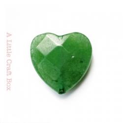 1 perle à facette coeur agate 20x20mm - vert