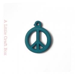 """5 breloques """" peace and love """" - bleu foncé"""