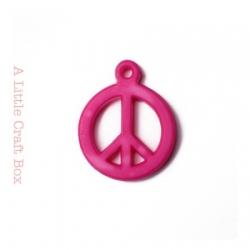 """5 breloques """" peace and love """" - fushia"""