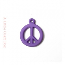 """5 breloques """" peace and love """" - violet"""