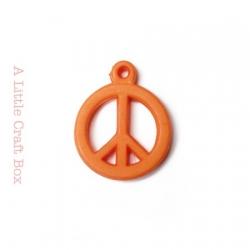 "5 breloques "" peace and love "" - orange"