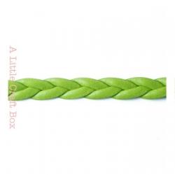 1m de cordon en simili cuir tressé 5mm - vert
