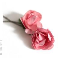 """2 appliques """"rose"""" en papier -  orange"""