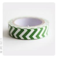 Fabric tape Chevron - vert  / blanc