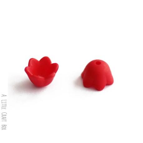 """10 perles """"fleur cloche"""" 10x9mm - rouge"""