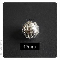 1 perle filigranée 17mm en métal - argent