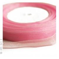 1m Ruban en organza  10mm - rose