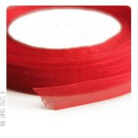 1m Ruban en organza  10mm - rouge