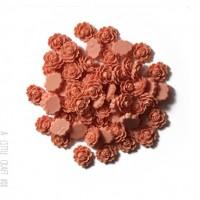 """[ GROS LOT ] 50 cabochons  """"rose épanouie"""" - vieux rose"""