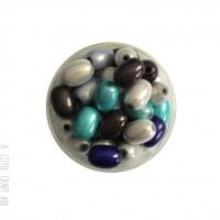 "10 perles ""miracle"" ovales 11x8mm  - bleu / gris"