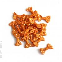 40 noeuds en tissu à pois coloris orange