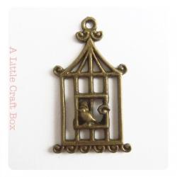 1 pendentif Cage à oiseau coloris bronze